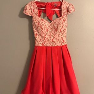 Chi Chi London Dress in Coral Pink, Small